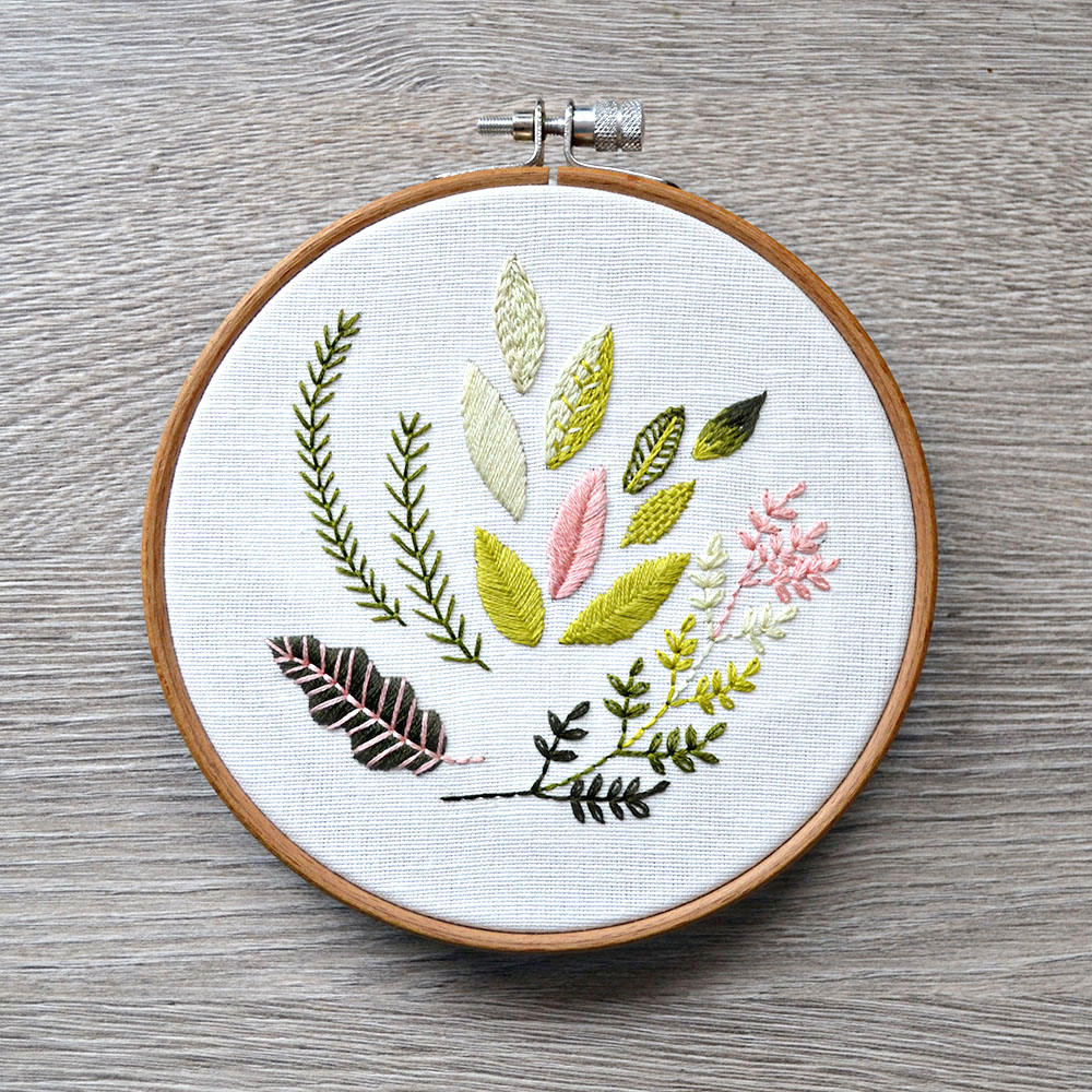 how to embroider leaves