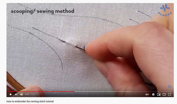 embroidery stitch video tutorial