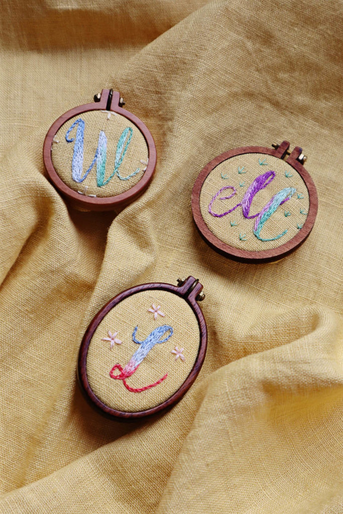 embroidered initials with watercolor effect